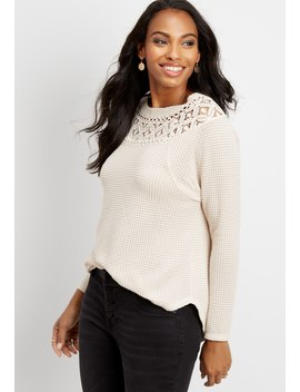Waffle Knit Lace Neck Top by Maurices