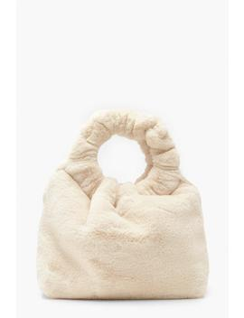 ring-handle-faux-fur-clutch-bag by boohoo