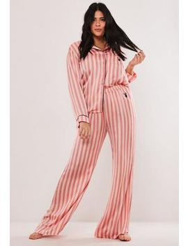 playboy-x-missguided-plus-size-pink-candy-stripe-satin-shirt-and-bottoms-pyjama-set by missguided
