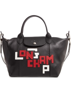 small-le-pliage-logo-leather-tote by longchamp