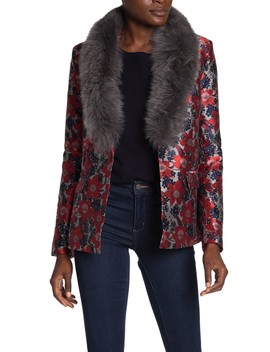 floral-jacquard-genuine-fox-fur-collared-jacket by dolce-cabo