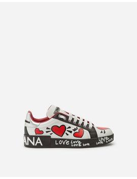 calfskin-nappa-portofino-sneakers-with-heart-print by dolce&gabbana