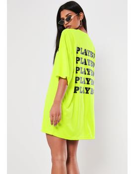 playboy-x-missguided-lime-repeat-back-slogan-t-shirt-dress by missguided