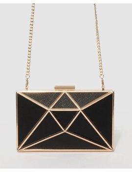 black-geometric-large-clutch-bag by colette-hayman