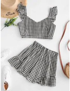 Hot Plaid Ruffle Sweetheart Shorts Set   Black S by Zaful