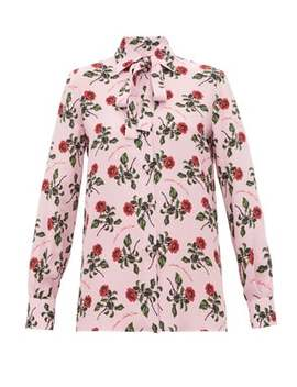 rose-and-slogan-print-silk-blouse by valentino