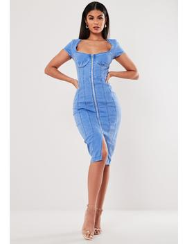 Blue Zip Through Cap Sleeve Denim Mini Dress by Missguided