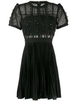 pleated-sequin-embellished-dress by self-portrait
