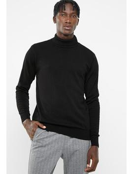 basic-roll-neck-slim-fit-knit---black by superbalist