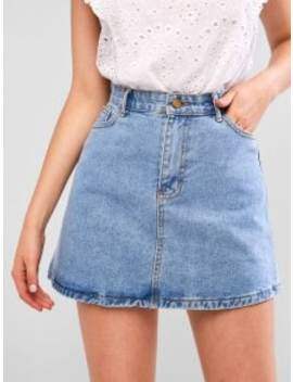 Hot A Line Zip Fly Short Denim Skirt   Denim Blue S by Zaful