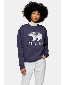 blue-alaska-bear-sweatshirt by topshop