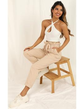 Not Your Business Pants In Beige Linen Look by Showpo Fashion