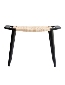 Lene Bjerre Emiko Stool 43cm Mango Wood Cane Black Nature by Houseology
