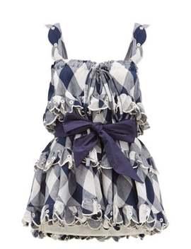 iva-gudtais-checked-ruffled-cotton-mini-dress by innika-choo