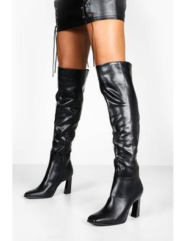interest-heel-over-the-knee-boots by boohoo