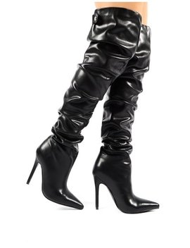 impulse-black-pu-slouch-stiletto-heeled-over-the-knee-boots by public-desire