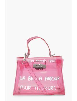 Slogan Clear Mini Lock Grab Bag by Boohoo