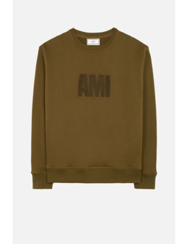 crewneck-sweatshirt-big-ami-embroidered-patch by ami-paris