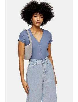 blue-short-sleeve-button-cardigan by topshop