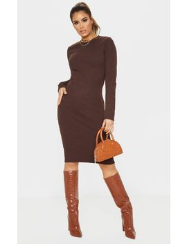 tall-chocolate-brown-knitted-long-sleeve-midi-dress- by prettylittlething