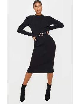 black-turtleneck-midaxi-long-sleeved-dress by prettylittlething