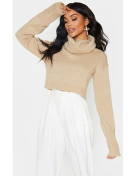 camel-roll-neck-cropped-jumper by prettylittlething