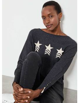 Grey Star Front Batwing Jumper by Mint Velvet
