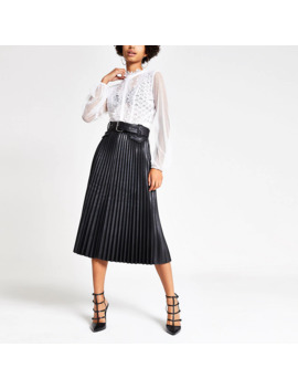 Black Pleated Faux Leather Midi Skirt by River Island