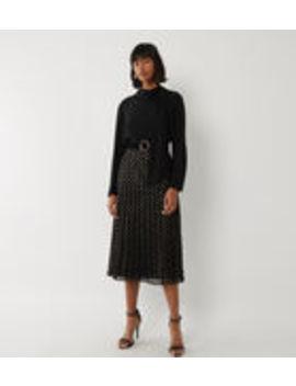 Foil Spot Pleated Midi Skirt by Warehouse
