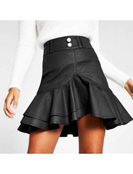 Black Coated Frill Denim Mini Skirt by River Island