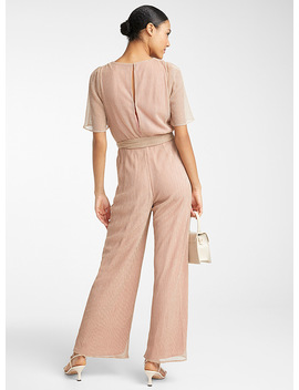 Pleated Rose Gold Jumpsuit by Adelyn Rae