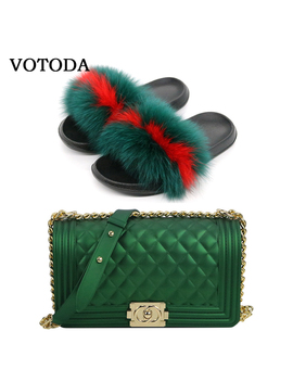 fluffy-women-fur-slippers-set-handbag-furry-real-fox-fur-slides-shoes-rainbow-colorful-jelly-shoulder-bag-candy-crossbody-purse by aliexpresscom