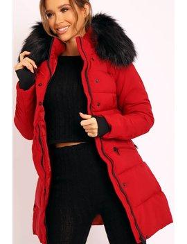 Red Adjustable Waist Longline Puffer Coat   Zofia by Rebellious Fashion