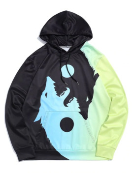 Wolf Printed Pocket Decorated Drawstring Hoodie   Tea Green M by Zaful