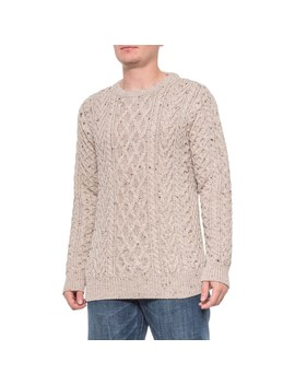 Aran Mor Oatmeal Multi Stitch Cable Knit Sweater   Merino Wool, Crew Neck (For Men) by Aran Mor