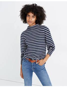 gathered-sleeve-mockneck-top-in-stripe by madewell