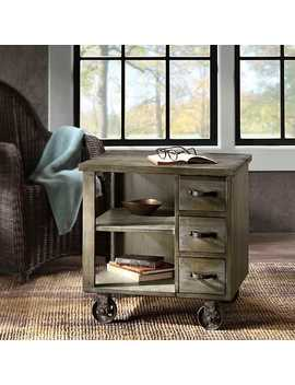 New! Industrial Kaiser Wheeled Accent Table by Kirkland's