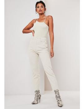 stone-cord-raw-hem-cigarette-pants by missguided