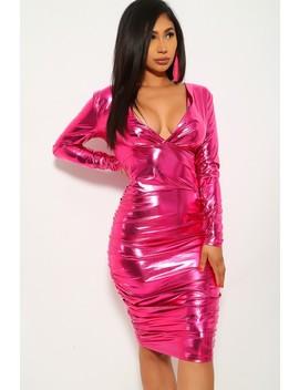 metallic-fuchsia-v-cut-party-dress by ami-clubwear