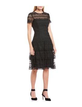 sabrina-short-sleeve-a-line-layered-lace-dress by antonio-melani