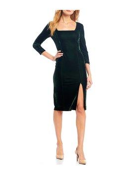square-neck-stretch-velvet-sheath-dress by donna-morgan