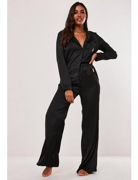 playboy-x-missguided-black-satin-shirt-and-bottoms-pyjama-set by missguided