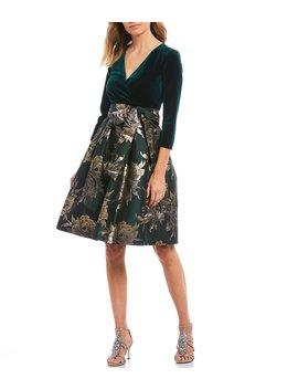 velvet-bodice-metallic-floral-print-jacquard-pleated-dress by jessica-howard