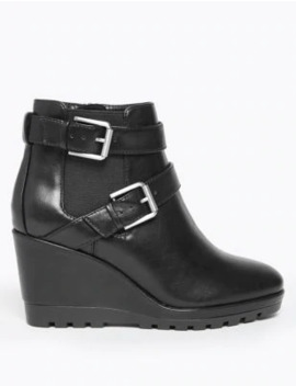 Buckle Wedge Ankle Boots by Marks & Spencer
