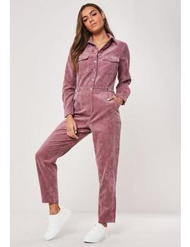 pink-cord-utility-popper-jumpsuit by missguided