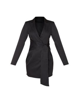 black-wrap-detail-blazer-dress by prettylittlething