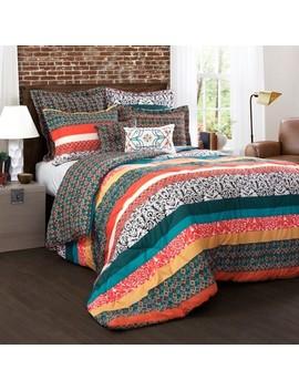 turquoise-&-tangerine-boho-stripe-comforter-set-7pc---lush-décor® by lush-decor