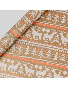 Kraft Neon Scandi Print Wrapping Paper   3m by Paperchase