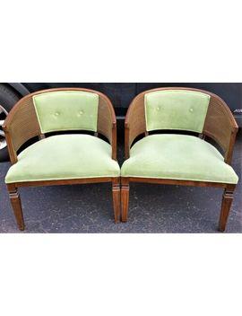 pair-of-vintage-oak-wood-barrel-club-armchairs-cane-sides-tufted-green-velvet by ebay-seller