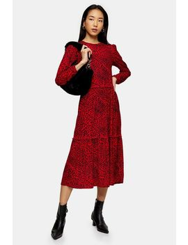 red-animal-spot-smock-midi-dress by topshop